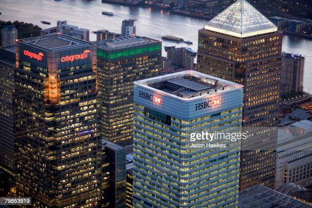Aerial night view of Canary Wharf in the docklands on August 6, 2007 in London.