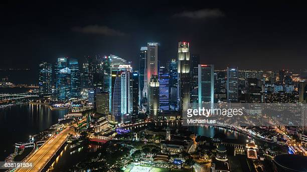 Aerial Night View of Central Business District - Singapore