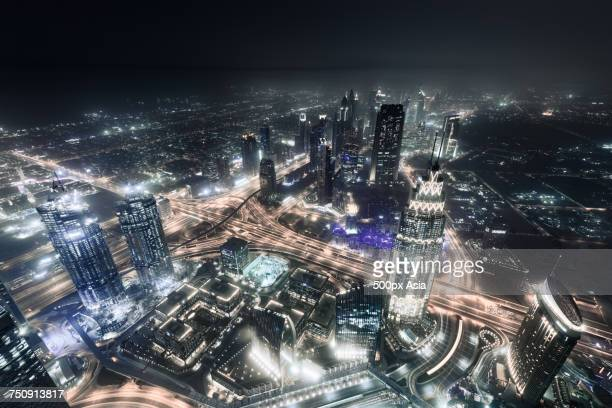 """""""aerial night view of dubai, united arab emirates"""" - image stock pictures, royalty-free photos & images"""