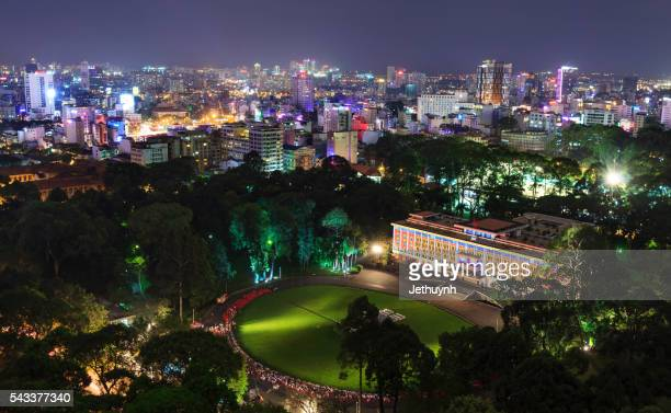 Aerial night view of Independence Palace in Ho Chi Minh City, Vietnam. Independence Palace is known as Reunification Palace and was built in 1962-1966