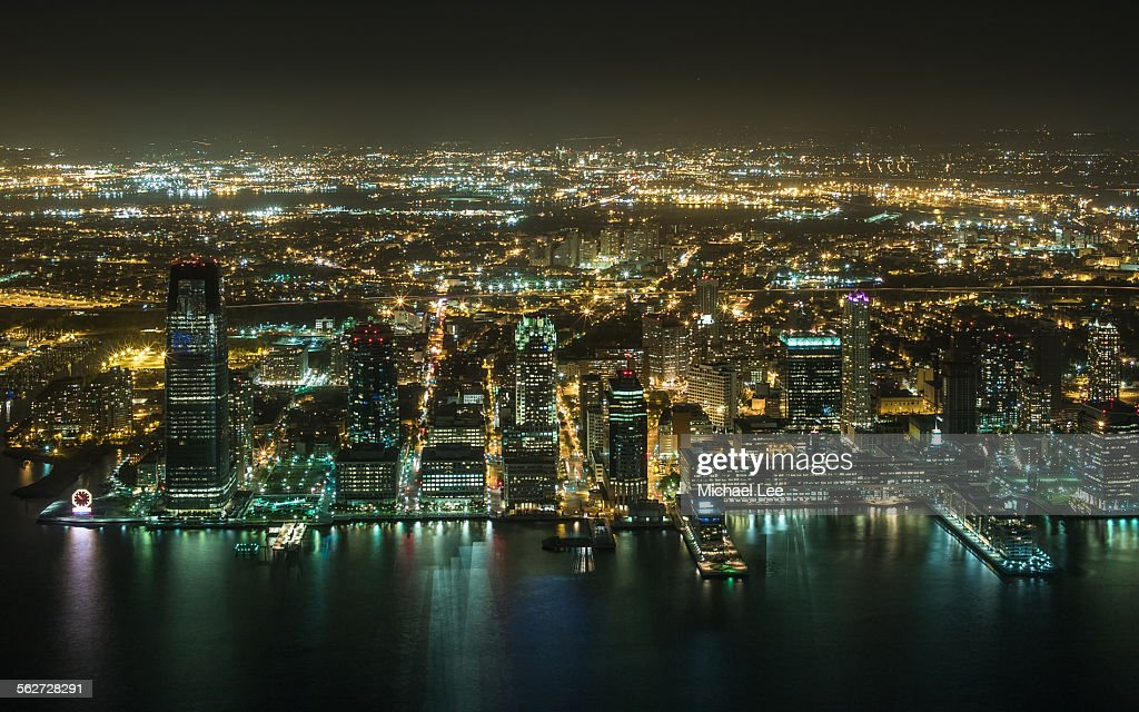 Aerial night View of Jersey City : Stock Photo