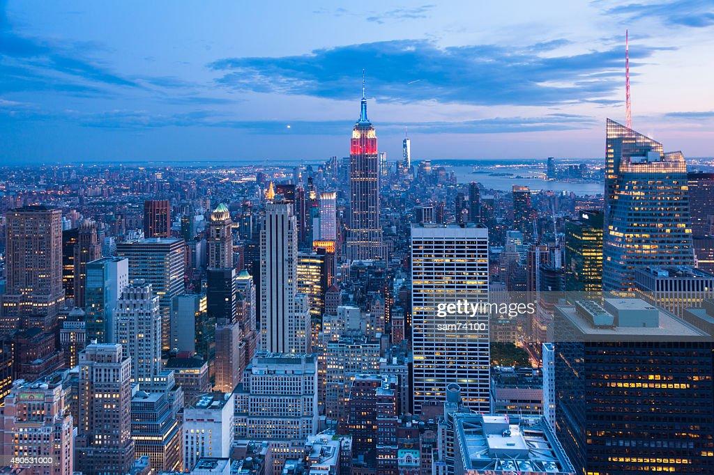 Aerial night view of Manhattan skyline  New York - USA : Stock Photo