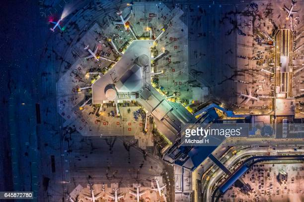 Aerial night view of San Francisco International Airport