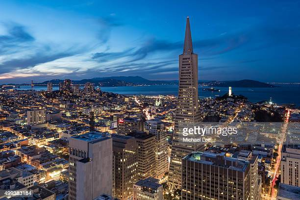 Aerial night view of San Francisco