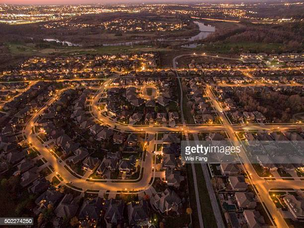 Aerial Night View of Suburbs