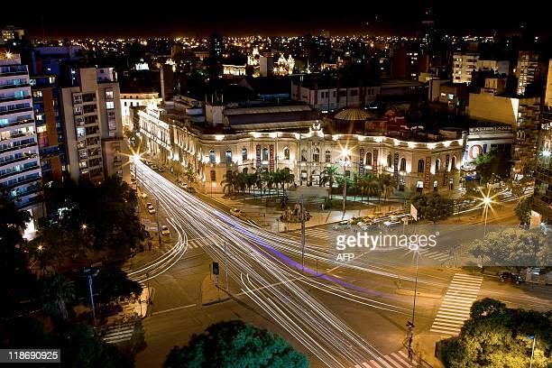 Aerial night view of the Patio Olmos Shopping Mall in Cordoba some 720 Km northwest of Buenos Aires on March 29 2011 Cordoba will host the Copa...