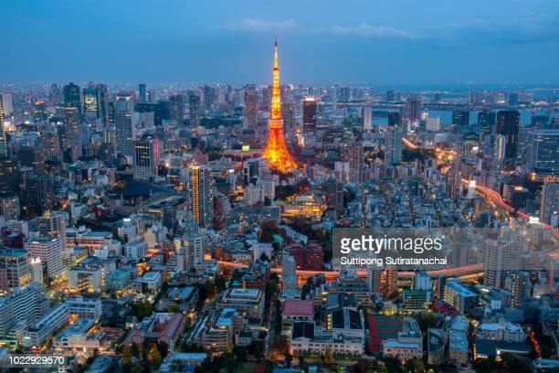 aerial night view of tokyo tower from mori tower , roppongi hills , tokyo - roppongi hills stock pictures, royalty-free photos & images