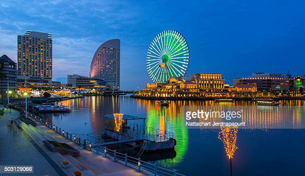 Aerial night view of Yokohama Cityscape and bay at Minato Mirai waterfront district