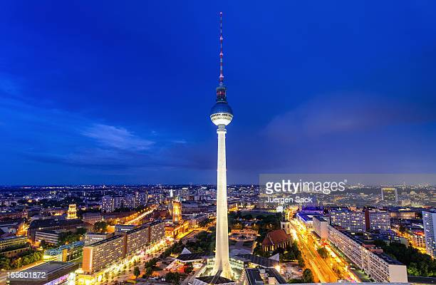Aerial nightview on the TV Tower and Cityscape of Berlin