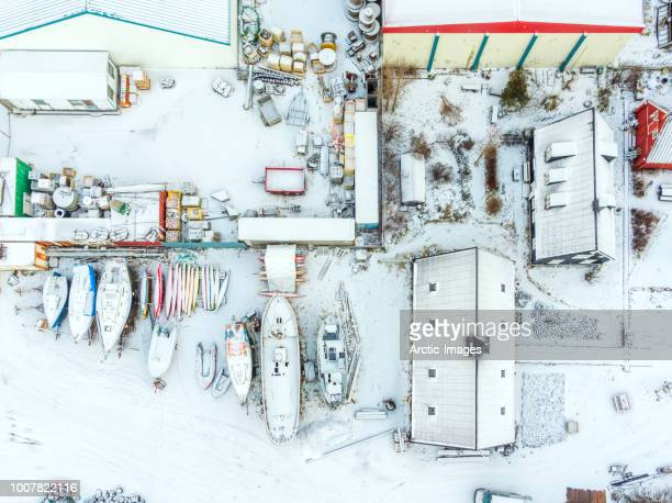 Aerial - Northern Harbor in the winter,  Isafjordur, Westfjords, Iceland