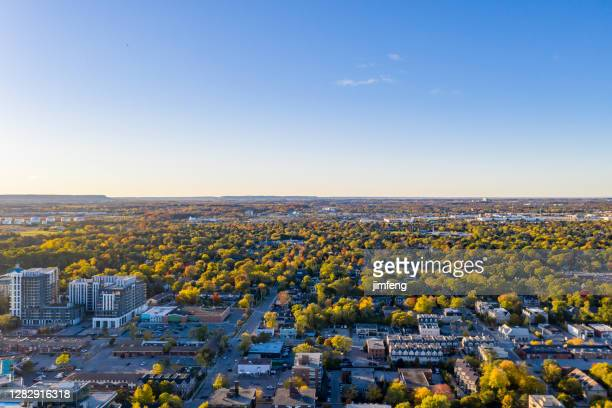 aerial oakville townscape and bronte creek at the lakeside of lake ontario, regional municipality of halton, canada - ontario canada stock pictures, royalty-free photos & images