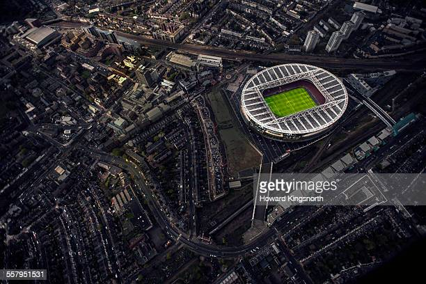 aerial of a football stadium - stadium stock pictures, royalty-free photos & images