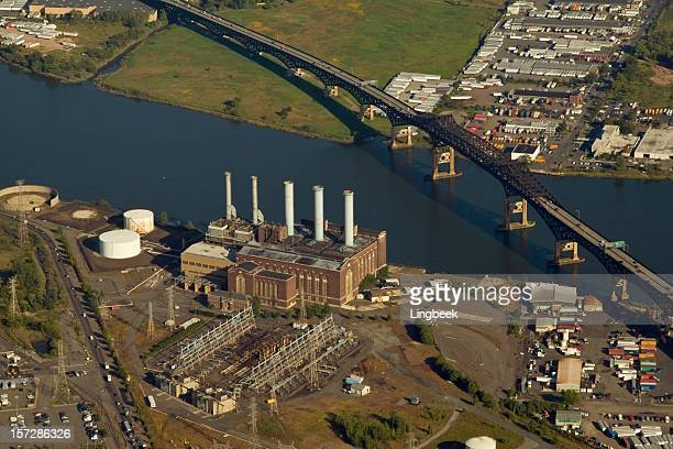 aerial of a power plant - newark new jersey stock photos and pictures