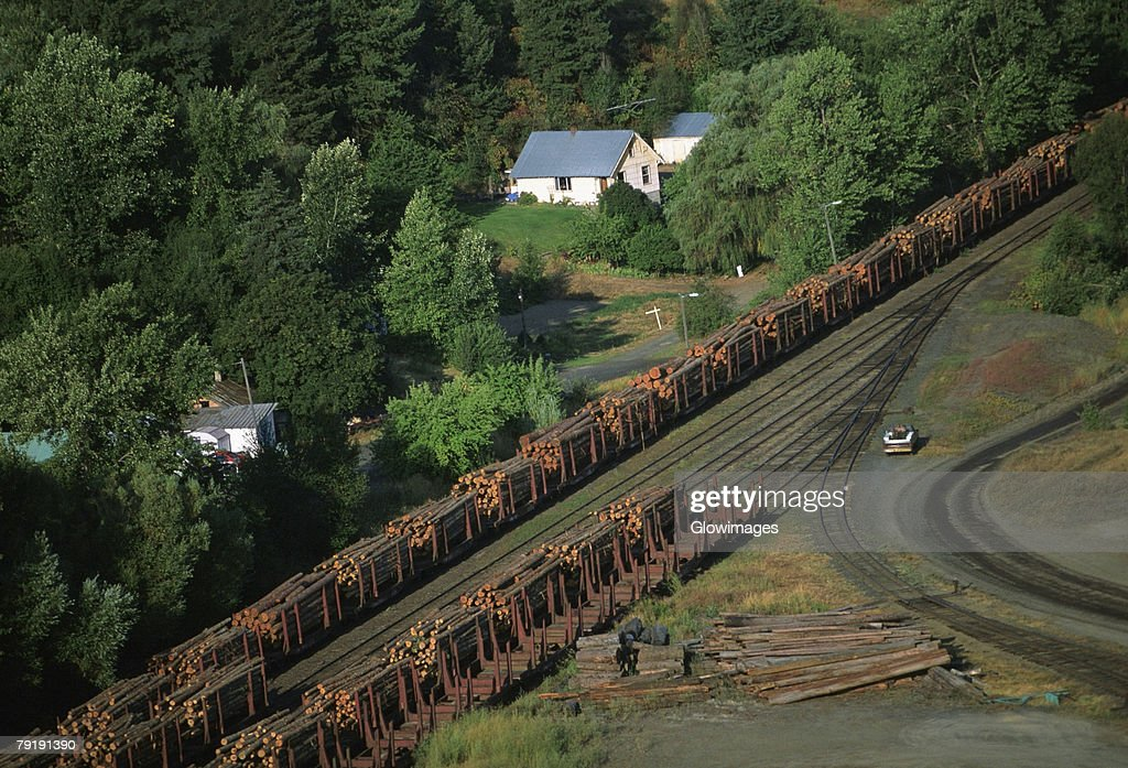 Aerial of a trainload of sawmill logs, Idaho : Stock Photo