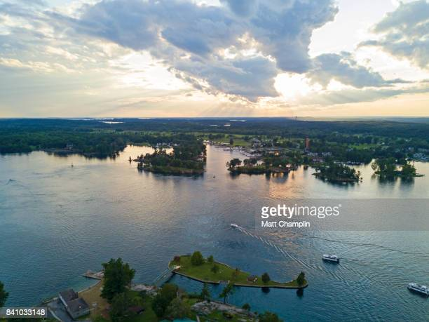 aerial of alexandria bay and thousand islands on the st. lawrence river - great lakes stock pictures, royalty-free photos & images