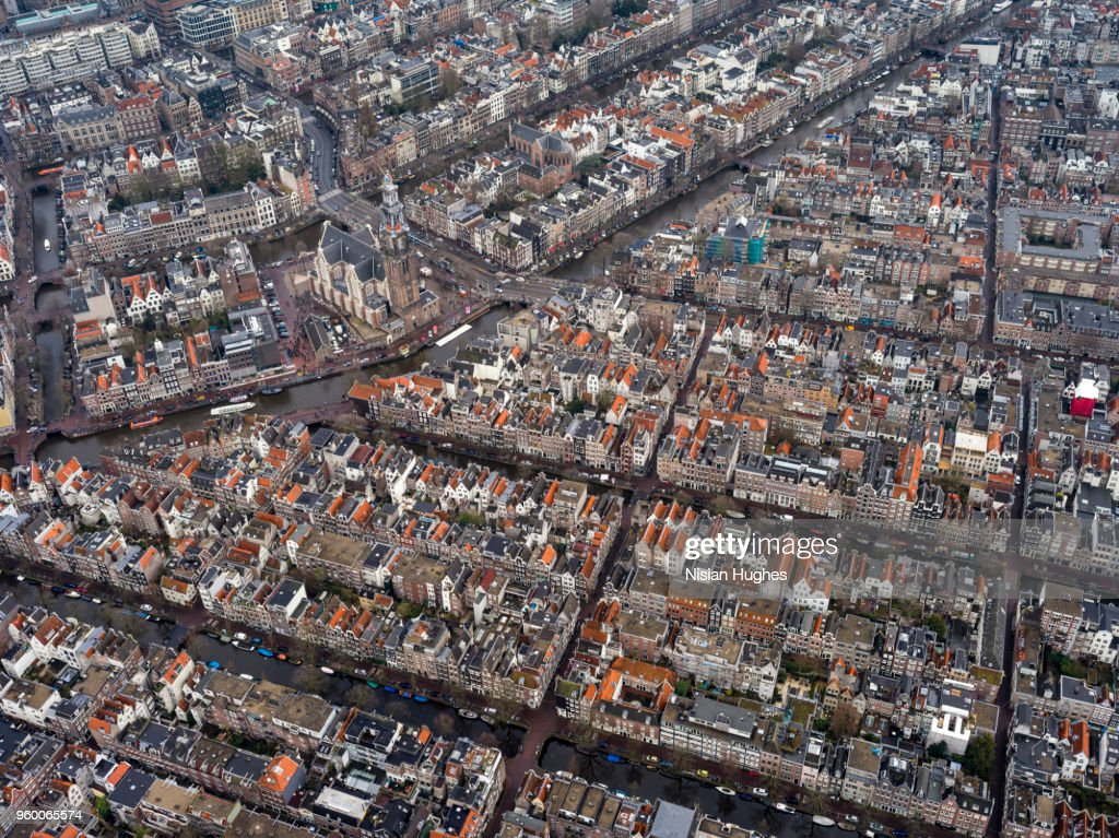 Aerial of Amsterdam center, Anne Frank Museum : Stock-Foto