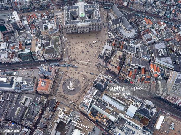 Aerial of Amsterdam center over Dam Square