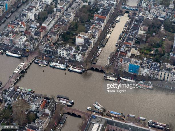 Aerial of Amsterdam city center and Amstel river