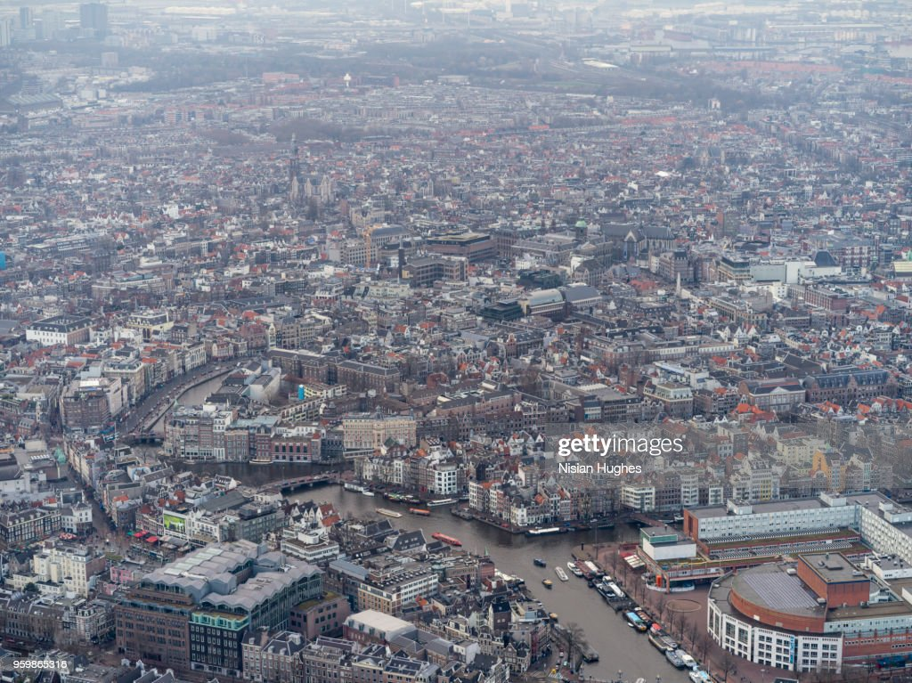 Aerial of Amsterdam city center and Amstel river : Stock-Foto