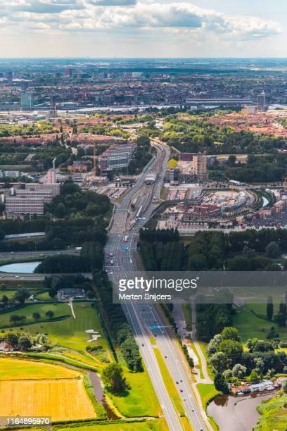 aerial of amsterdam-noord with noord-zuidlijn metro - merten snijders stock pictures, royalty-free photos & images