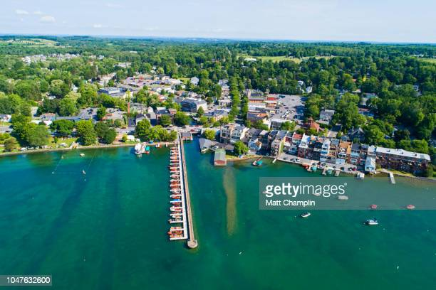 aerial of antique boat festival on skaneateles lake - finger lakes stock pictures, royalty-free photos & images