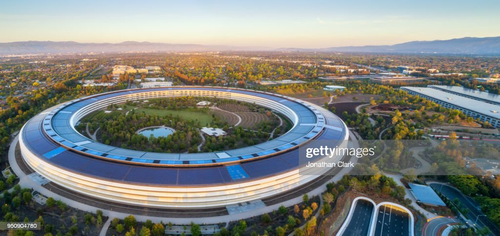 Aerial Of Apple Campus In Sunnyvale Cupertino Silicon Valley