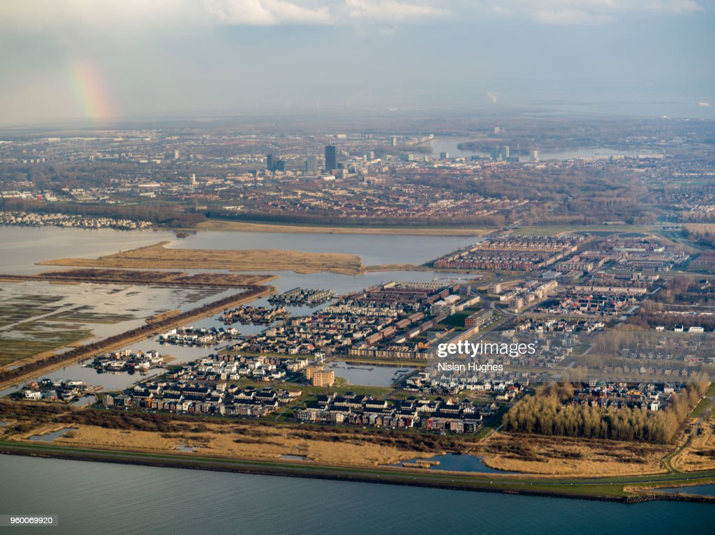 Aerial of area north east of Amsterdam, rainbow : Stock-Foto