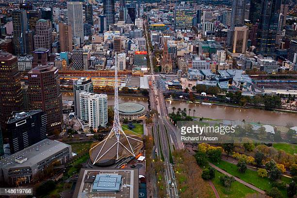 Aerial of Arts Centre Spire, Yarra River and central business district.