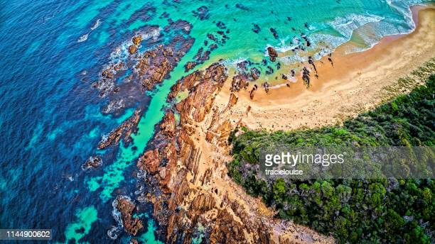 aerial of bastion point at mallacoota - mallacoota stock pictures, royalty-free photos & images