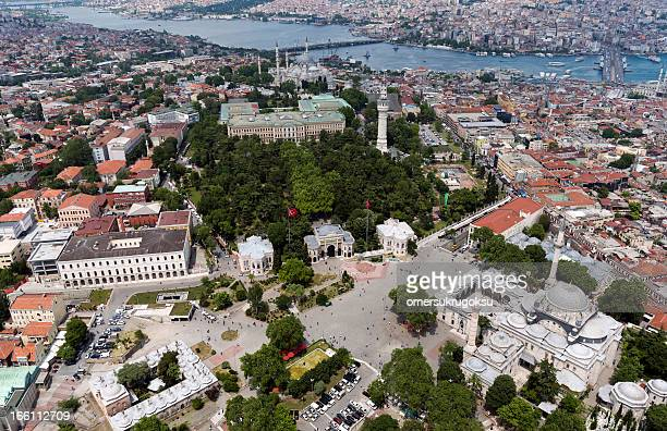 Aerial of Beyazit Square in Istanbul