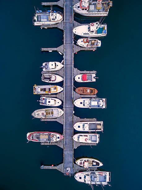 Aerial of boats, Hafnarfjordur, Iceland