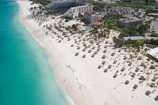 Aerial of Bucuti Beach Resort on Eagle Beach