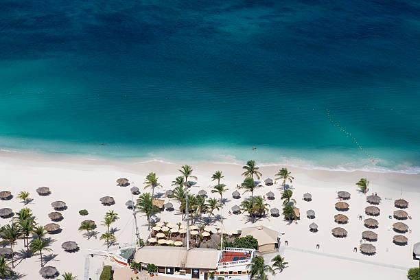 Aerial of Bucuti Beach Resort Restaurant on Eagle Beach.