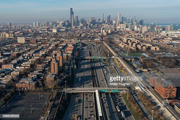Aerial of busy highway to Chicago, Illinois