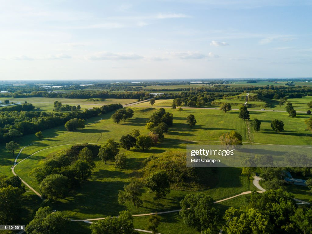 Aerial of Cahokia Mounds Pyramids in Illinois, USA : Stock Photo
