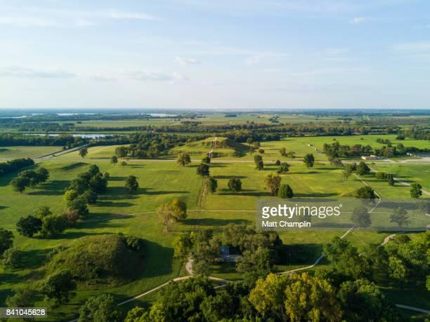 Aerial of Cahokia Mounds Pyramids in Illinois, USA