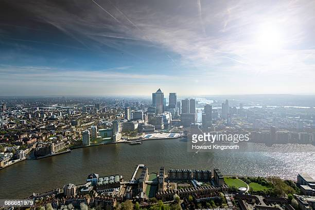 Aerial of Canary Wharf and River Thames