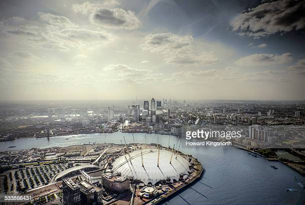 Aerial of Canary Wharf and the Dome