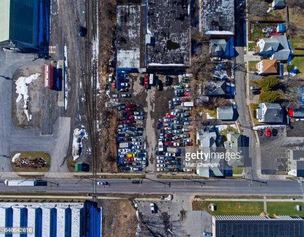 Aerial of Car Scrapyard