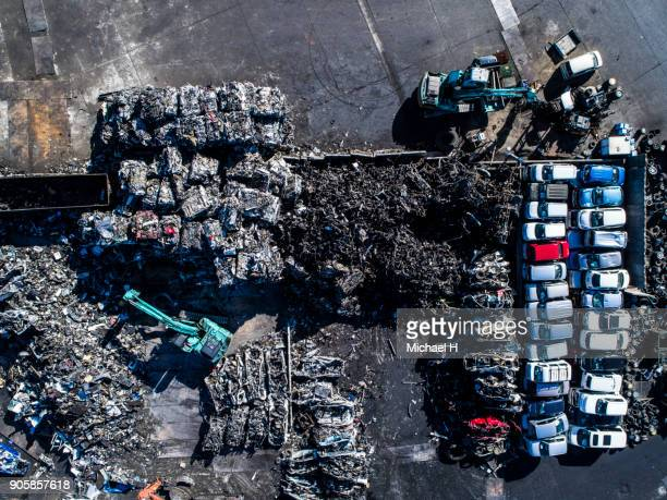Aerial of Car Scrapyard