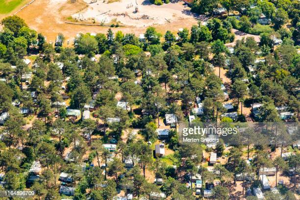 aerial of caravans on camping bakkum in castricum - merten snijders stock pictures, royalty-free photos & images
