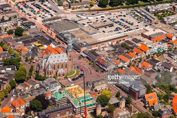 aerial of central market square in schagen noord-holland - merten snijders stock pictures, royalty-free photos & images