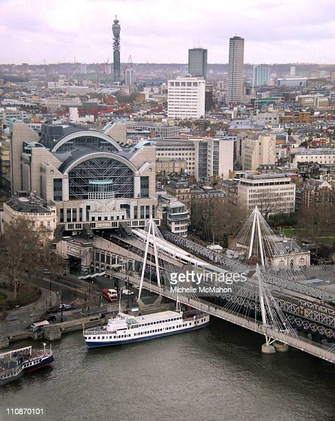 Aerial of Charing Cross Station, Hungerford Bridge