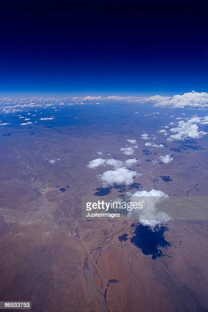 Aerial of clouds over land