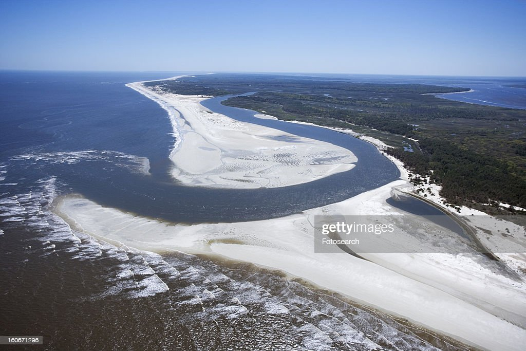 Aerial of coast at Cumberland Island National Seashore, Georgia. : Foto de stock