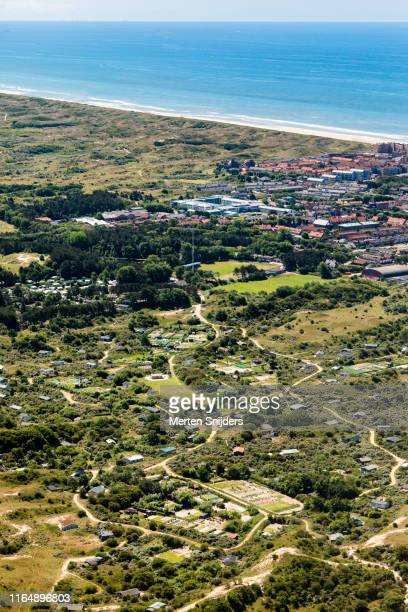 aerial of coastal park and campsite egmond aan zee - national recreation area stock pictures, royalty-free photos & images