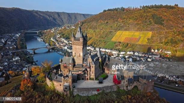 aerial of cochem castle and vineyards in mosel wine valley at autumn, rhineland-palatinate, germany. - lorraine stock pictures, royalty-free photos & images
