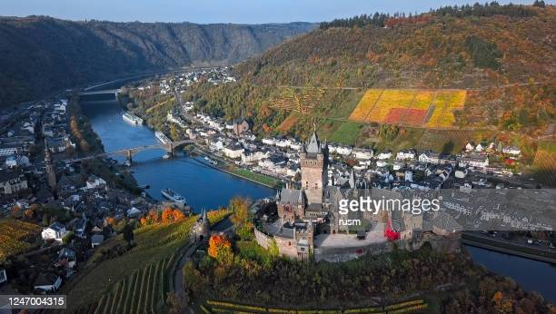 aerial of cochem castle and vineyards in mosel wine valley at autumn, rhineland-palatinate, germany. - moselle stock pictures, royalty-free photos & images