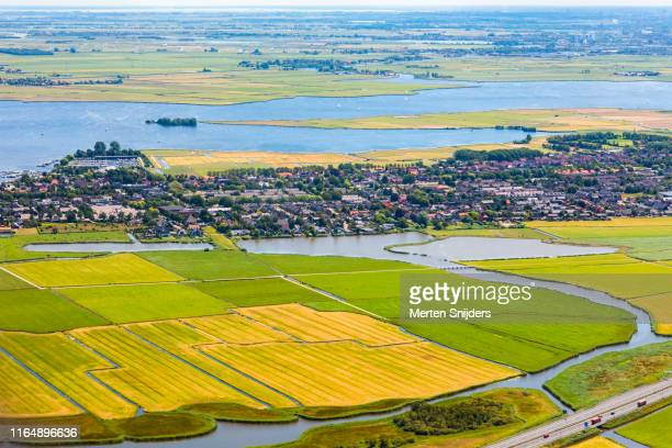 aerial of countryside and alkmaardermeer at akersloot - merten snijders stock pictures, royalty-free photos & images