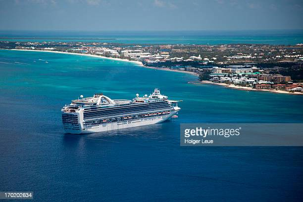 Aerial of cruise ship Crown Princess and coast